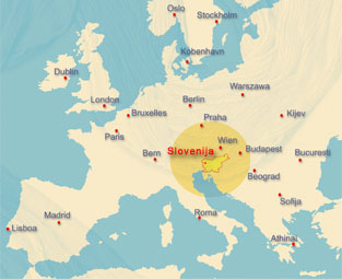 Slovenia in Europe, map by LTO Sotočje